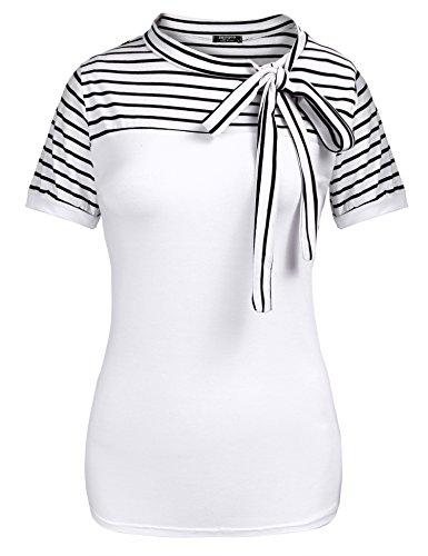 - Zeagoo Ladies Tie-Bow Neck Striped Short Sleeve Splicing Summer Shirt,White5,Small