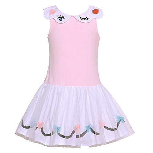 Kate Mack Big Girls White Pink Eyelash Detail Bow Heart Applique Dress 7 (Mack Bow Kate)
