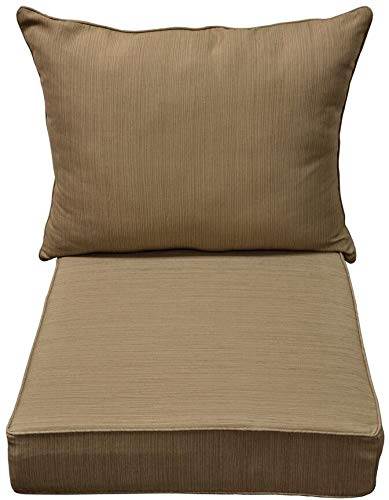 Seat Cushion Chair Deep - allen + roth Natural Wheat Deep Seat Patio Chair Cushion