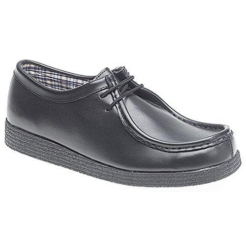 Rutt 21 Mens Belagda Läder Förkläde Para Skor Svarta