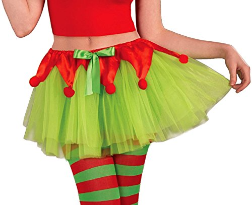 Forum Novelties Women's Elf Tutu, Green/Red, One Size