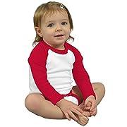 Monag Long Sleeve Raglan Bodysuit 3-6M White/Red