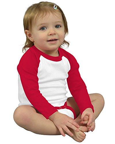 Monag Long Sleeve Raglan Bodysuit 0-3M White/Red