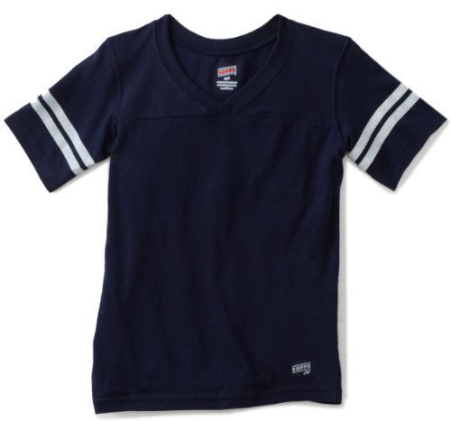 Soffe Big Girls' Football Tee, Navy, Medium