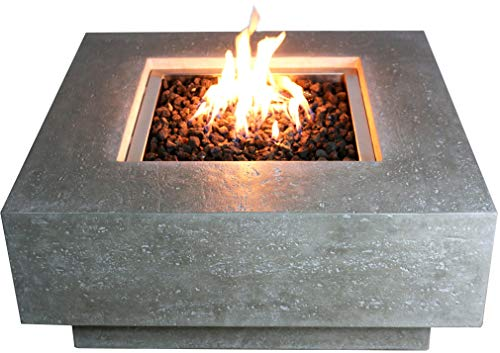 Elementi Manhattan Outdoor Table 37 Inches Natural Gas Patio Heater Concrete Firepits Outside Electronic Ignition Backyard Fireplace Cover Lava Rock Included