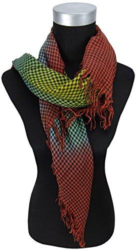 foulard en rouge-brun jaune vert noir carreaux avec franges - taille 90 x 90 cm