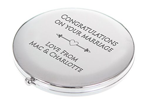 SUPERGOODIES Personalised Engraved Compact Mirrors Round Choose Your Font &...