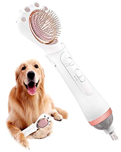Petaum Premium Grooming Pet Hair Dryer, 2 in 1 Portable Home Pet Grooming Hair Dryer, Adjustable Temperature Settings for Small Medium Dogs Cats with Pin Brush