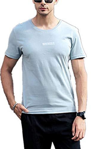 Mens Casual Letter Printing Shirt Short Sleeve T-Shirt Blouse Tops Sky Blue