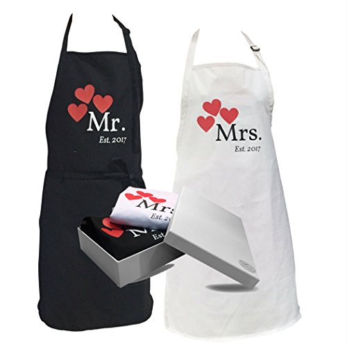 Mr and Mrs Couples Apron Gift - Wedding Kitchen Cooking Set - Gift Box and Handy Cooking Tips Included - His and Hers Engagement Gift Set