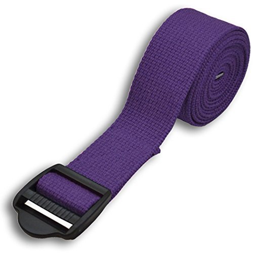 YogaAccessories 8' Cinch Buckle Cotton Yoga Strap (Purple)