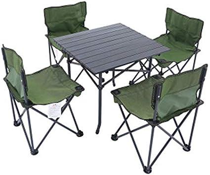 Zhouchenchen Mesas y sillas Al Aire Libre Mesa Plegable Silla ...
