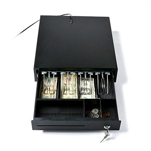 Cash Register, AGPtek Electronic Heavy-Duty Register Drawer,RJ11 Phone-Jack POS Cash Drawer Under Counter with Key-Lock, 4 Bill/2Coin for American Standard,1 Removeble Check/Bill Slot by AGPTEK (Image #2)