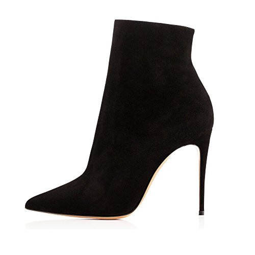 EDEFS Damen 10cm Spitze Zehen Stiletto Kurzschaft Stiefel Reißverschluss  High Heels Boots Schuhe Black 7d669a29ad
