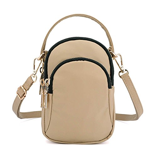 Phone Khaki Waterproof Nylon Mini Bag Crossbody Solid Portable Multi Slot Women Bag zOqn1WFPF