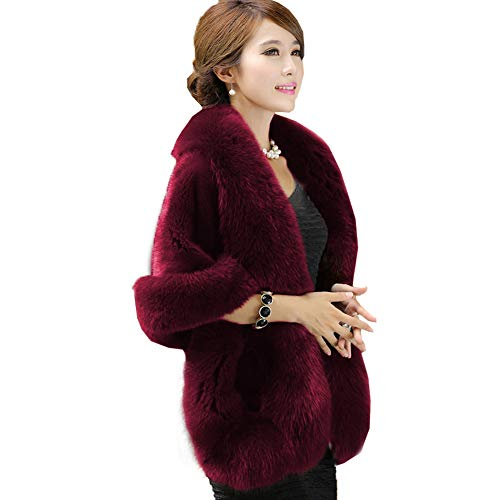 Caracilia Womens Faux Fur Coat Wedding Cape Shawl For Evening Party Scarlet Red