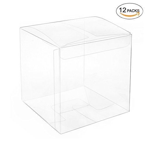 Clear Plastic Box 3.6x3.6x3.6 inch for Gift Candy Treat Cupcake Transparent Packing Box Party Favors 12pc by (Cute Cupcake Boxes)