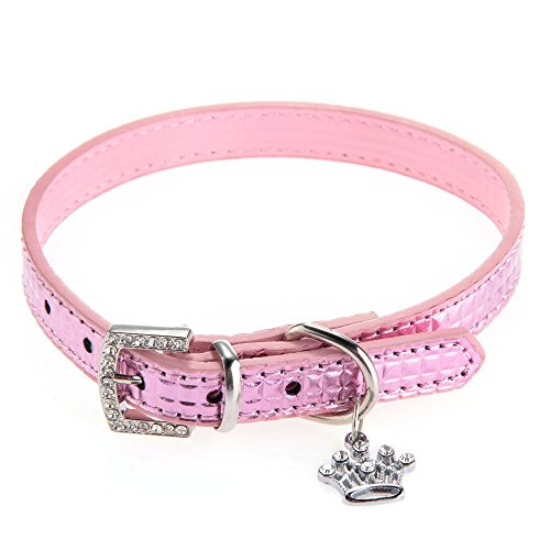 Crown Pet Charm (SODIAL(R) dogs Pet Puppy Collar PU Leather Adjustable Crown Charm Pendant Pink XS)