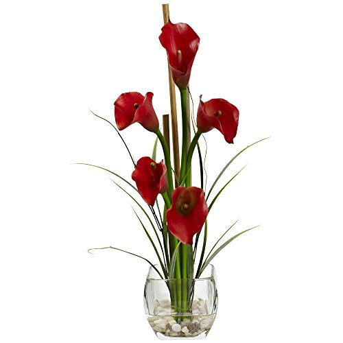 Calla Lilly Flower Arrangements - Nearly Natural Calla Lilly Liquid Illusion Arrangement in Vase