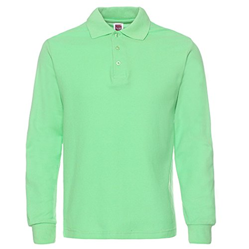 Men's Long Sleeve Casual Solid Golf Polo Shirt,light - Long Polo Sleeve Green