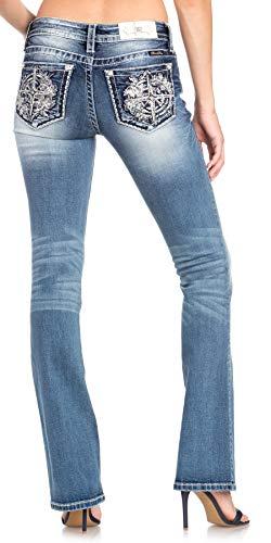 Miss Me Women's Compass Mid-Rise Bootcut Jeans in Dark Blue Dark Blue 26 - Belt Rhinestones Buckle Leather Metallic