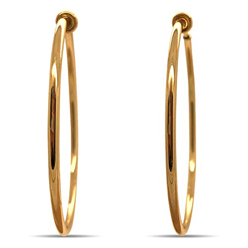 (Gold Tone Brass Spring Hoops Earrings Clip On-Small, Medium & Large Hoops for Women, Unpierced (Gold Tone XL))