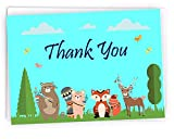 Baby Shower Thank You Cards Featuring Woodland Forest Animals - Measures 4.25'' x 6'' - 36 Cards - White Envelopes Included - Adorably Cute For Boy or Girl