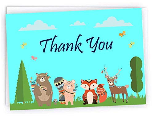 Baby Shower Thank You Cards Featuring Woodland Forest