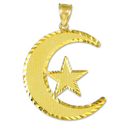 Middle Eastern Bijoux Femme Or 14K islamique Charm croissant de lune et pendentif étoile
