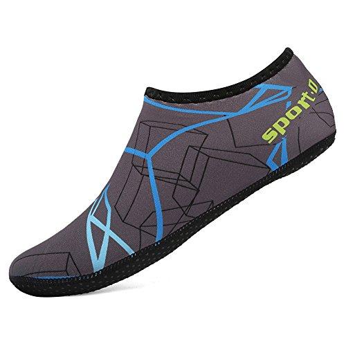 CIOR 3. Verbesserte Version Durable Sohle Barfuß Wasser Haut Schuhe Aqua Socken für Beach Pool Sand Schwimmen Surf Yoga Wassergymnastik Y.blau