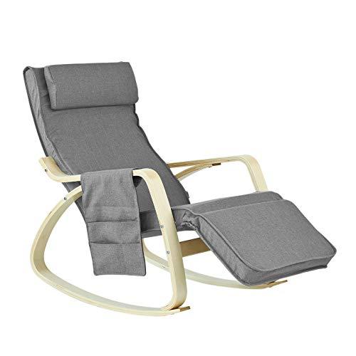 Charmant SoBuy FST18 DG éponge Plus épais, Rocking Chair Fauteuil à Bascule Berçante Avec  Repose Pieds Réglable Bouleau + 1 Pochette Latérale Gratuite: Amazon.fr: ...