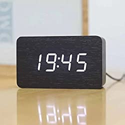 SPA Tool® Battery or USB Powered Mini Rectangle Wood Clock - Time Display & Voice Control(Black Wood White LED)
