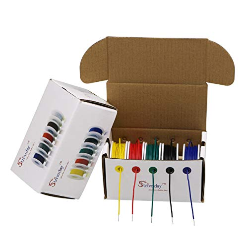 StrivedayTM 22 AWG Hook Up Wire 1007 PVC Solid wire Kit box Electric wire 22 gauge 300V Cable (26.2ft Each Color)