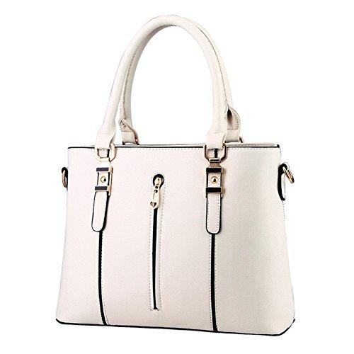 QCKJ Mode Kreuz Körper Schulter Beutel europäische Art Frauen PU Soild Reißverschluss Handtasche Weiß