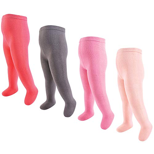 Touched by Nature Baby Girls' Organic Cotton Tights, 4 Pack, Coral/Charcoal, 0-9 Months