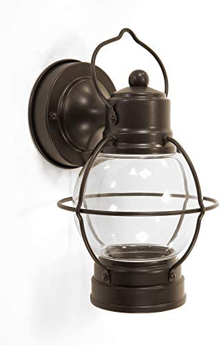 CORAMDEO Outdoor LED Farmhouse Lantern, Wall Sconce for Porch, Patio, Deck and More, Built in LED Gives 100W of Light with 12.5W of Power, Wet Location, Bronze Finish with Clear Glass Lens
