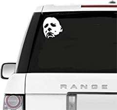 "A&B Traders Car Decals Michael Myers Creepy Face 5.5"" White Vinyl Decals Scary Horror Movies Creepy Halloween Stickers for Cars, Laptops  It's good for Laptops, Car, Bike, skateboards or any flat surface. It's a perfect Halloween movie w..."
