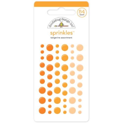 Crafters Workshop Glossy Enamel Adhesive Sprinkles, Tangerine Dots, 54 Per Package