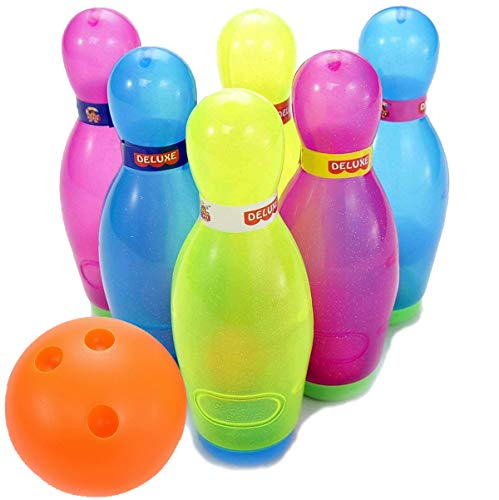 Liberty Imports Deluxe Kids Toy Bowling Play Set with 6 Large Pins, Bowling Ball and Mini Shakers ()