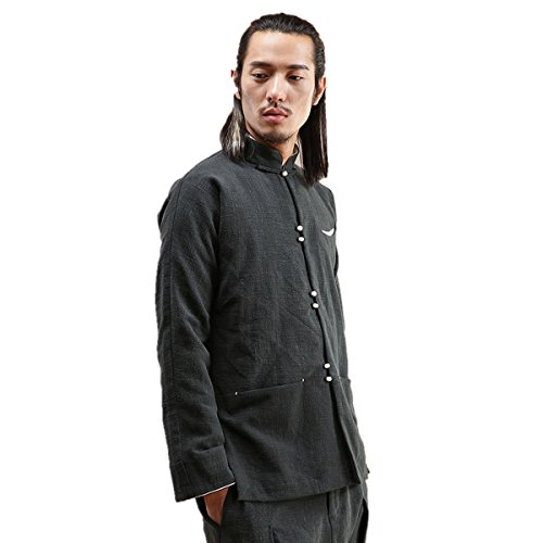 WEISAN Mens Stand Collar Keroa Spring Autumn Coat Cotton Linen Meditation Costume by WEISAN (Image #4)