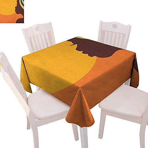 Care Proof Age Sun (BlountDecor African Woman Patterned Tablecloth Teenage Girl Pretty Face Profile Abstract Sunset Calm Evening Dust-Proof Tablecloth 60