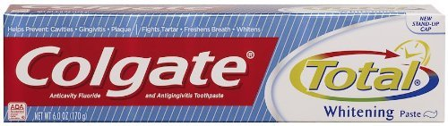 Colgate Total Whitening Paste, Anticavity Fluoride and Antigingivitis Toothpaste, 6 Ounces (Pack of 3) ()