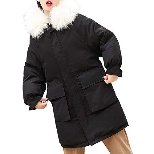 Slim Grueso Mujer Negro Capucha Outwear Algodón Pluma Delgada Con Sólida Logobeing Invierno Piel Abrigos De Parka Sudaderas Chaqueta Ox0TZ
