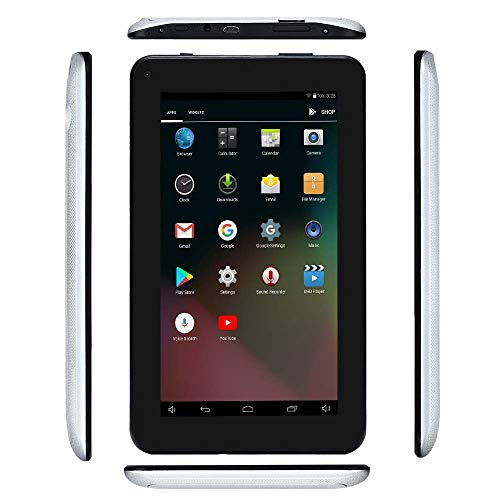 Haehne 7 Inches Tablet PC, Google Android 6.0 Quad Core, 1024 x 600 Screen, Dual Cameras, 1GB RAM 8GB ROM, 2800mAh, WiFi, Bluetooth, with Stand Leather Case