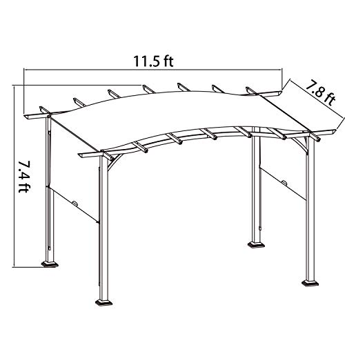 COSTWAY Pergola Outdoor Steel Frame Patio Sun Shelter Retractable Canopy Shade, As The by COSTWAY (Image #6)