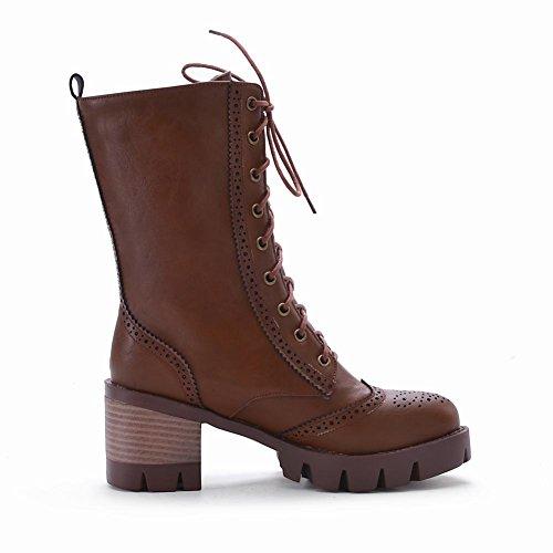 Fall Boots Heel Fashion Up Brown Mid Motorcycle Lace Combat Womens Carolbar xgqOwfHzg0