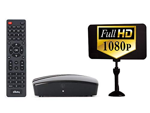 Exuby Digital Converter Box, Digital Antenna Bundle to View and Record Over the Air HD Channels for Free (Instant or Scheduled Recording, 1080P HDTV, High Resolution, HDMI Output, 7 Day Program Guide)