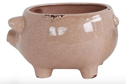 Pale Pink Pig Shape Distressed Stoneware 8.75 x 6.25 Ceramic Standing Planter