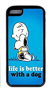 iCustomonline Peanuts Snoopy Rubber Black Back Shell for iPhone 5C