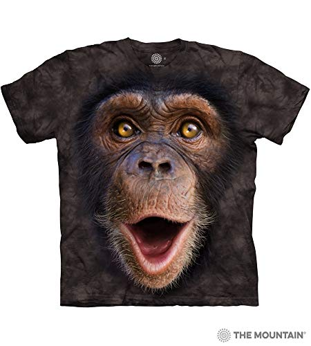 Monkey Face Tee - The Mountain Happy Chimp Adult T-Shirt, Black, 2XL